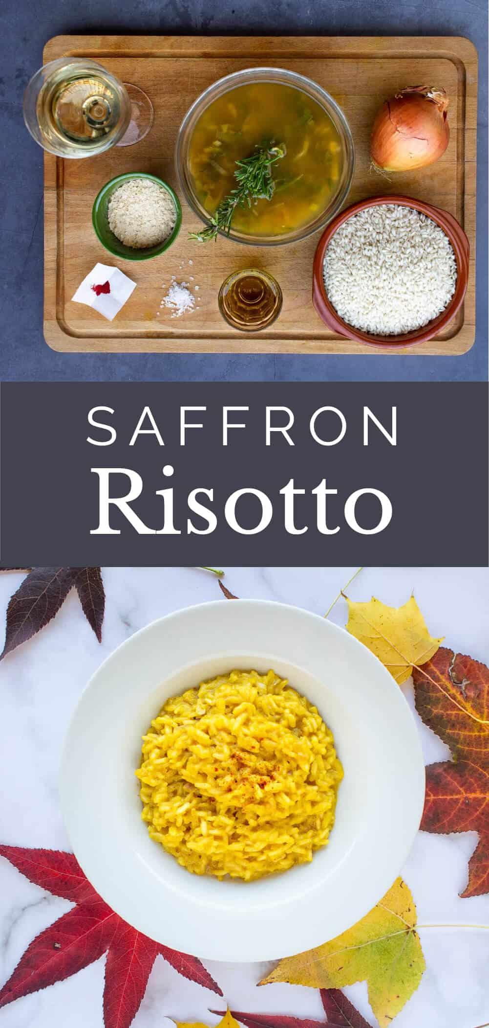 saffron risotto with leaves