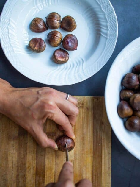 inserting the knife in chestnut
