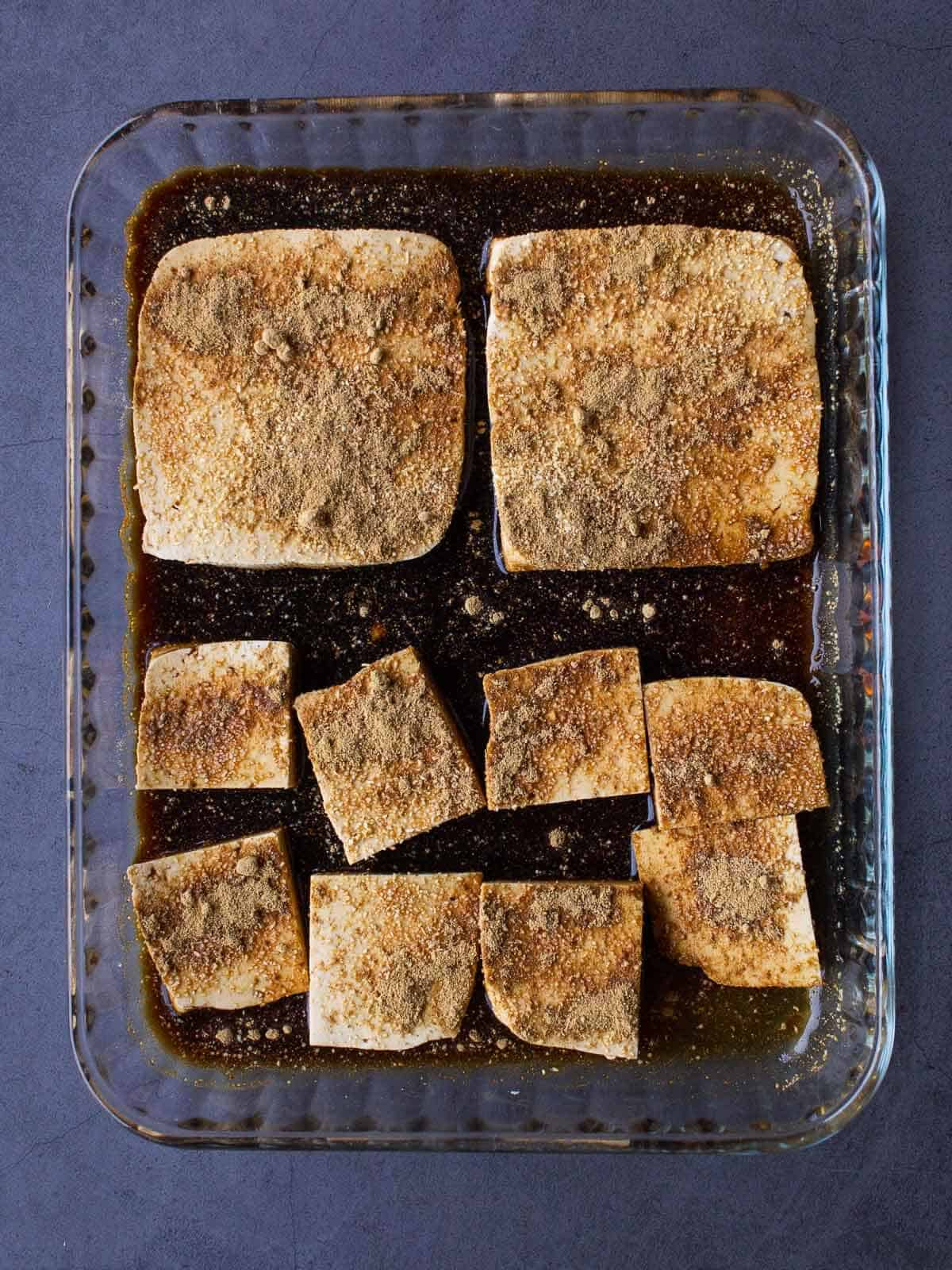 marinating extra firm tofu with garlic powder and soy sauce