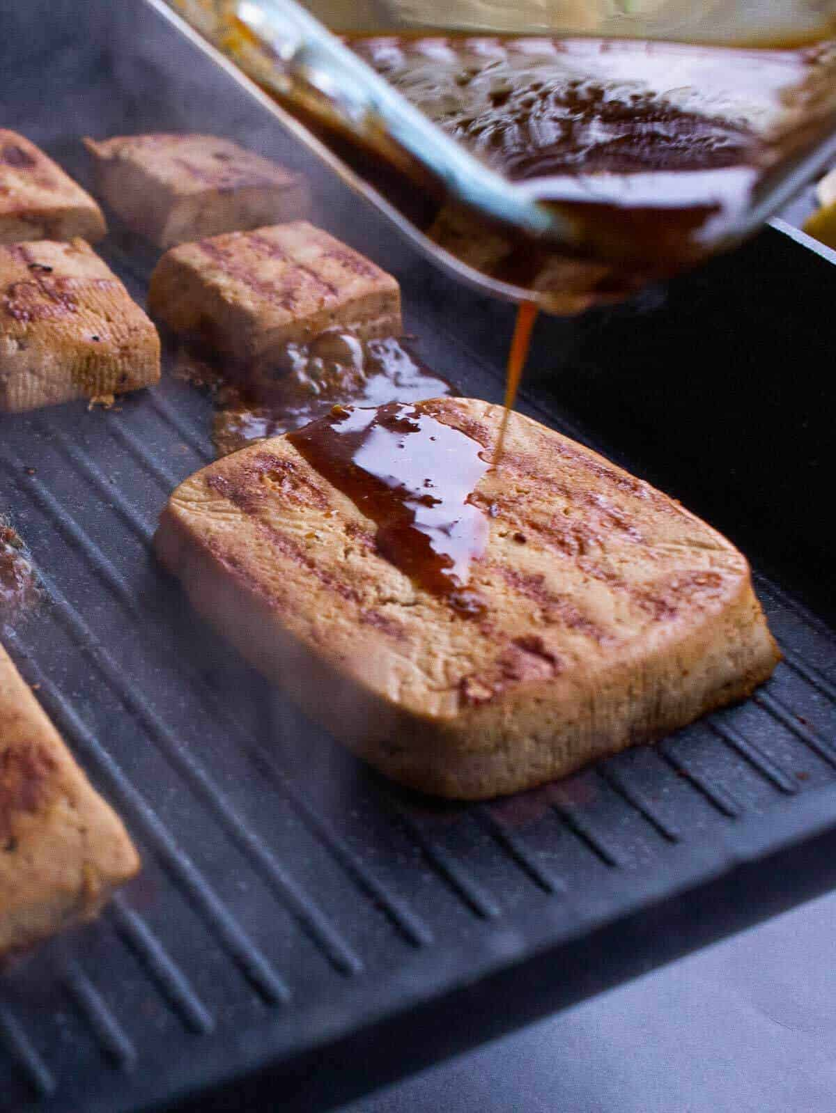 grilled tofu with extra marinade