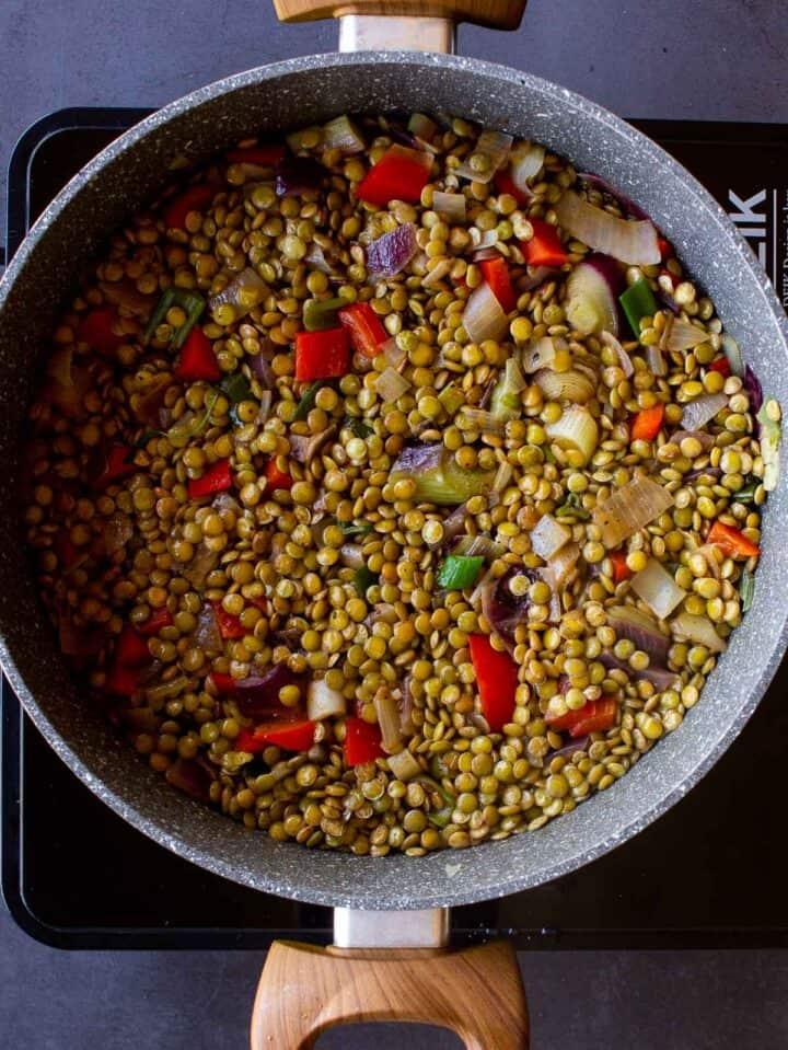 Vegan Empanadas Lentls Filling on Pot