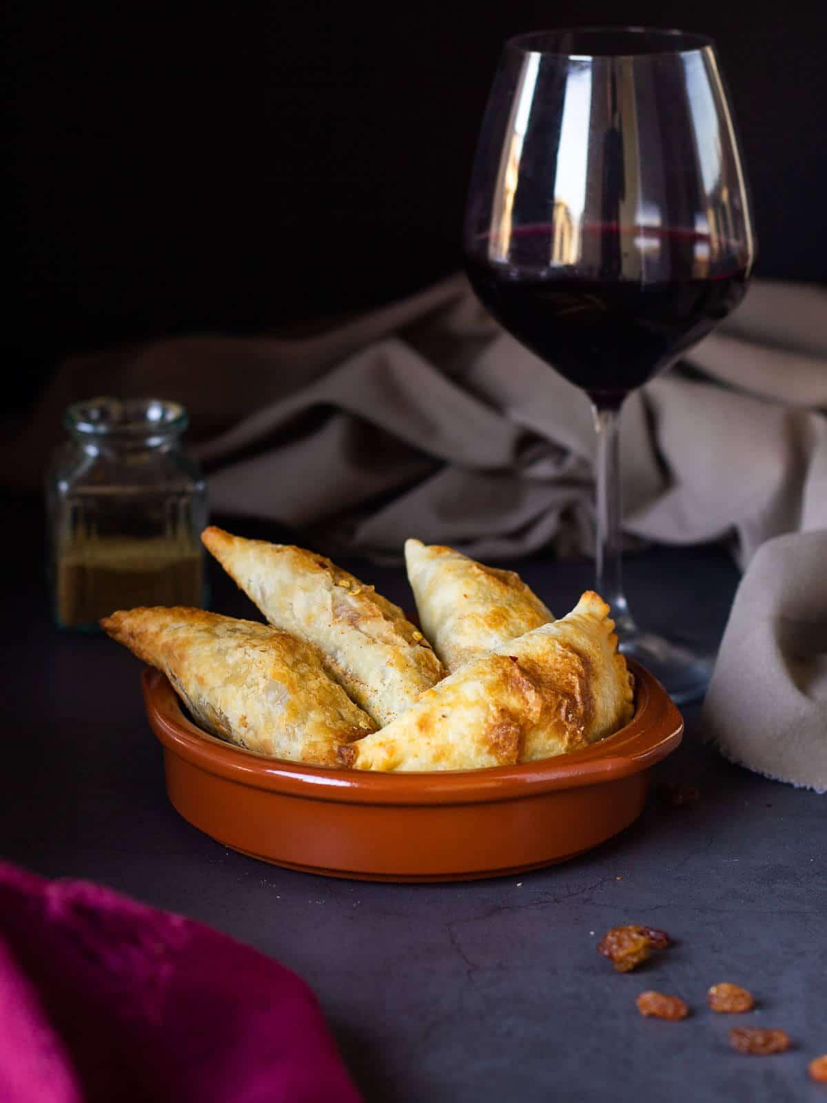 Vegan Empanadas with Wine