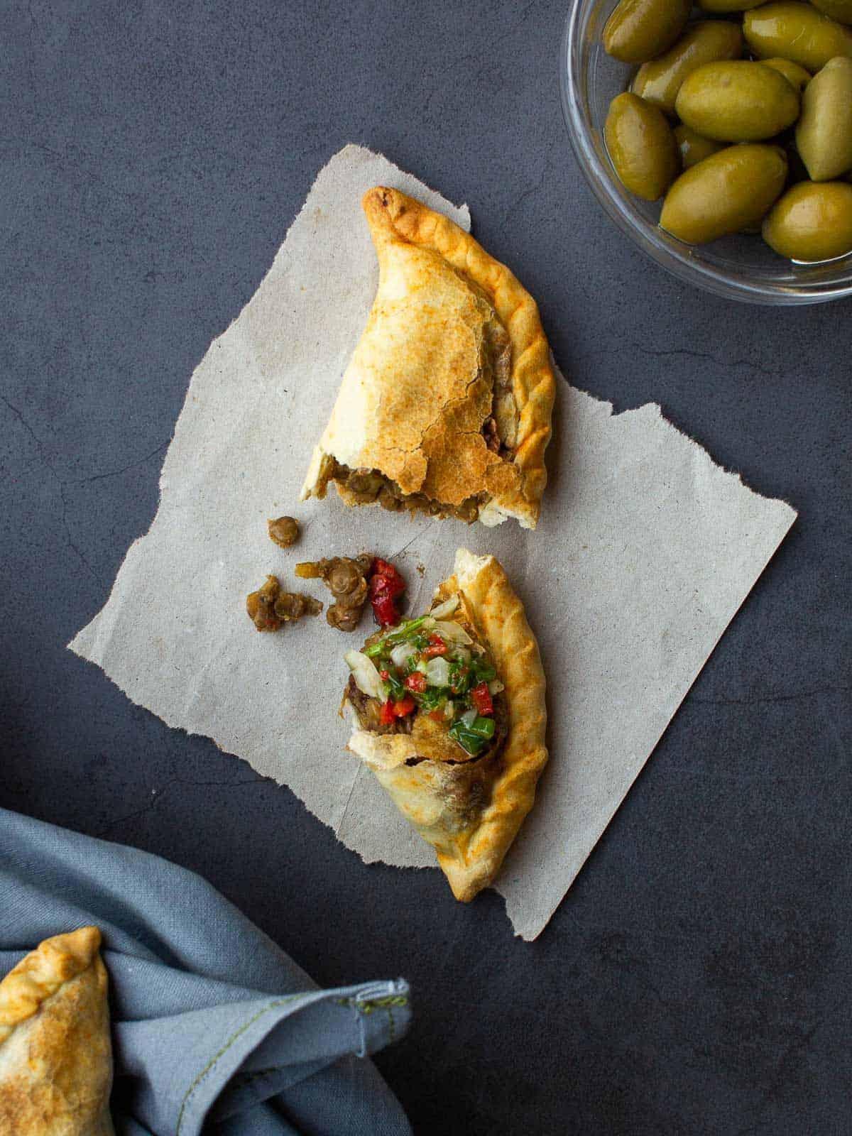 Halved Vegan Empanada