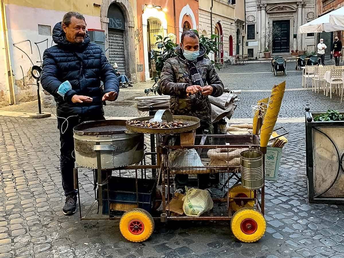salesmen with trolley selling roasted chestnuts in Rome