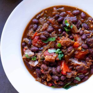 vegan chili served in white plate