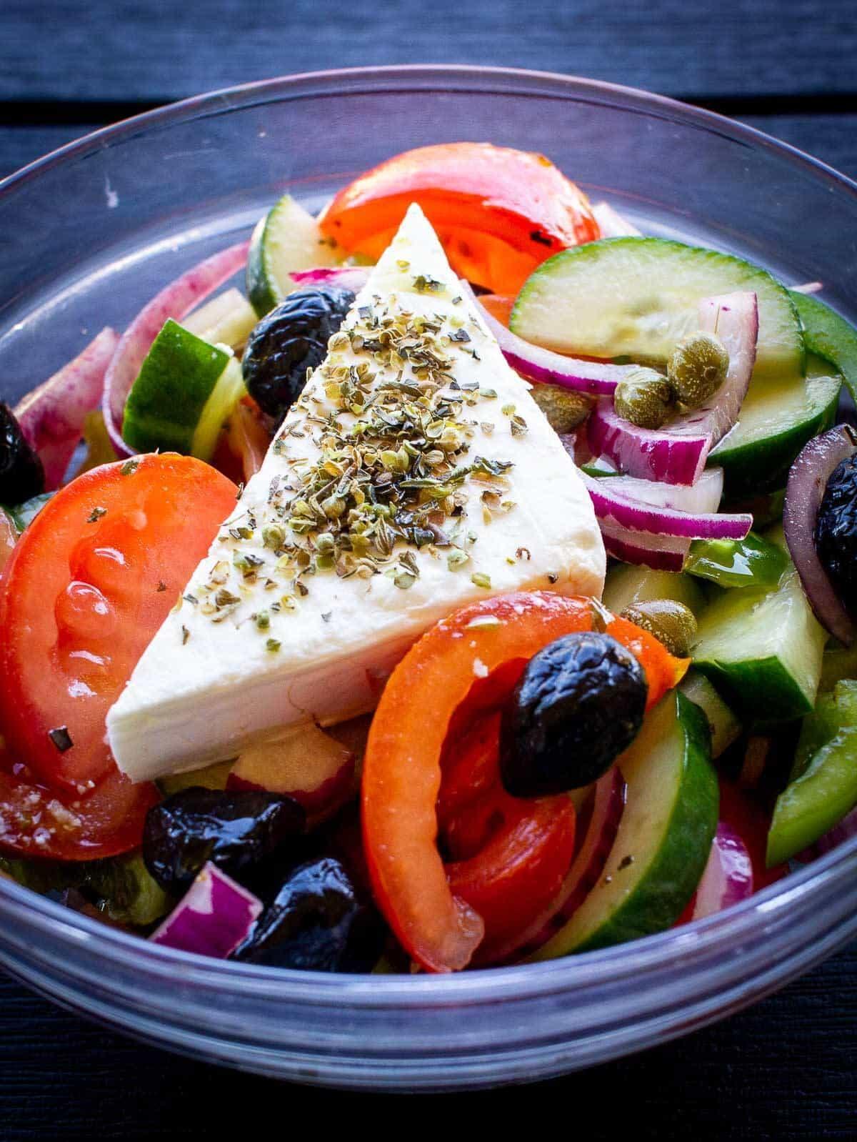 greek salad front view