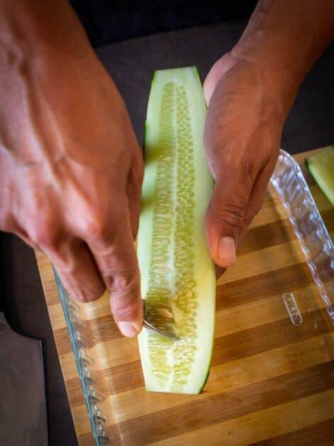 deseeding cucumber