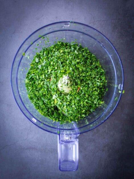 fresh parsley chopped in food-processor
