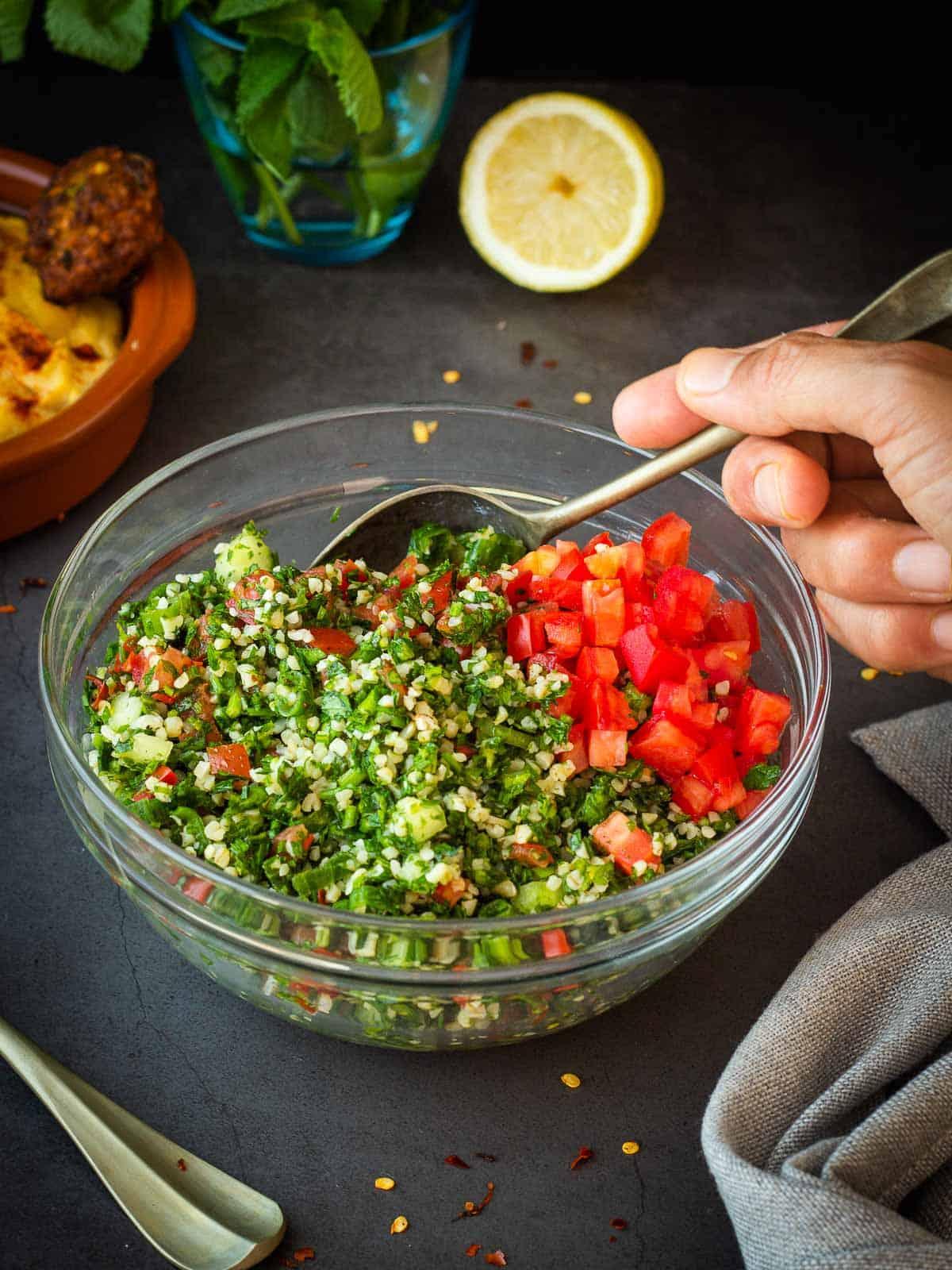 Tabbouleh Salad with Hummus and Falafel