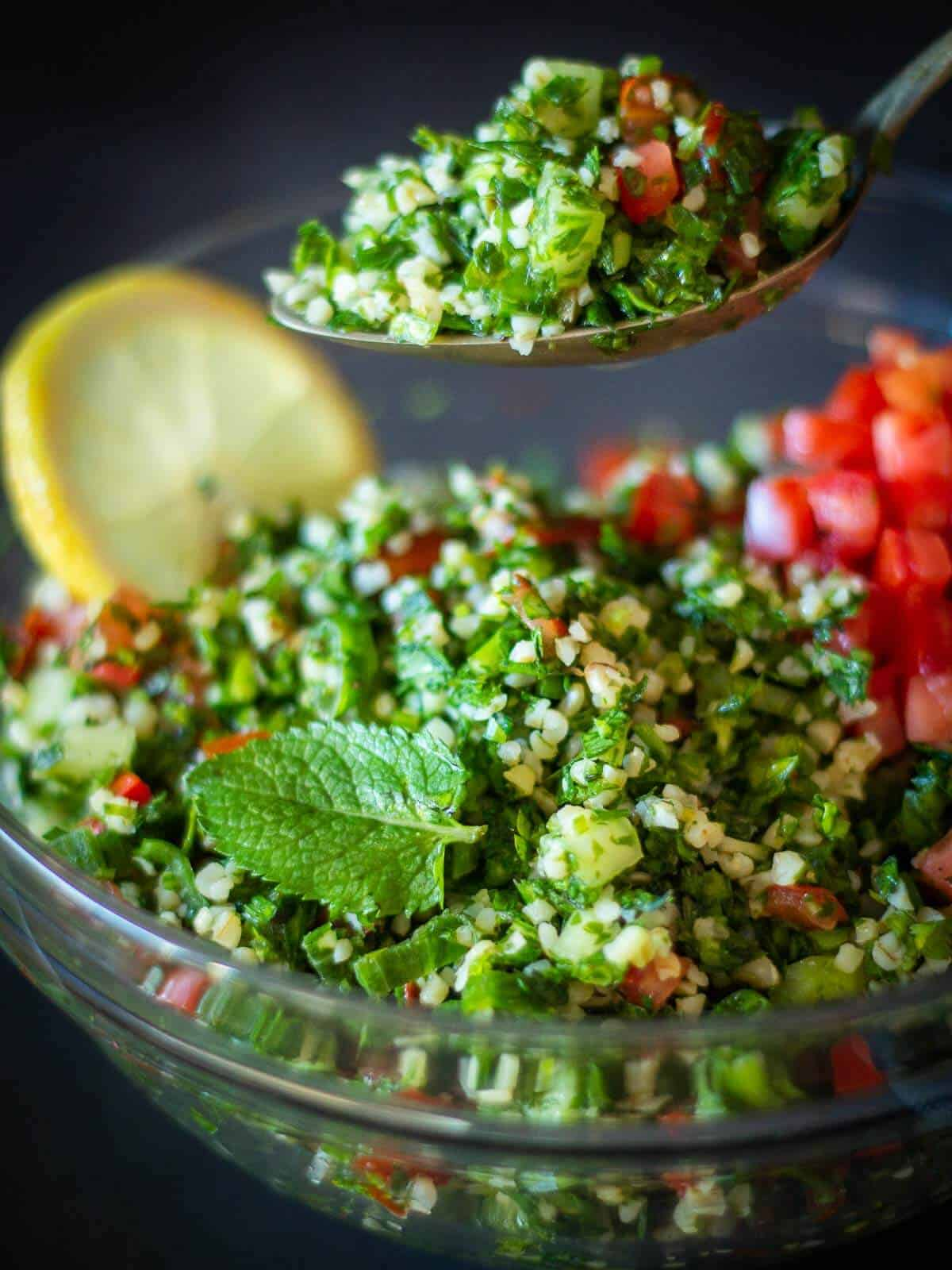 Spoon of Tabbouleh Salad