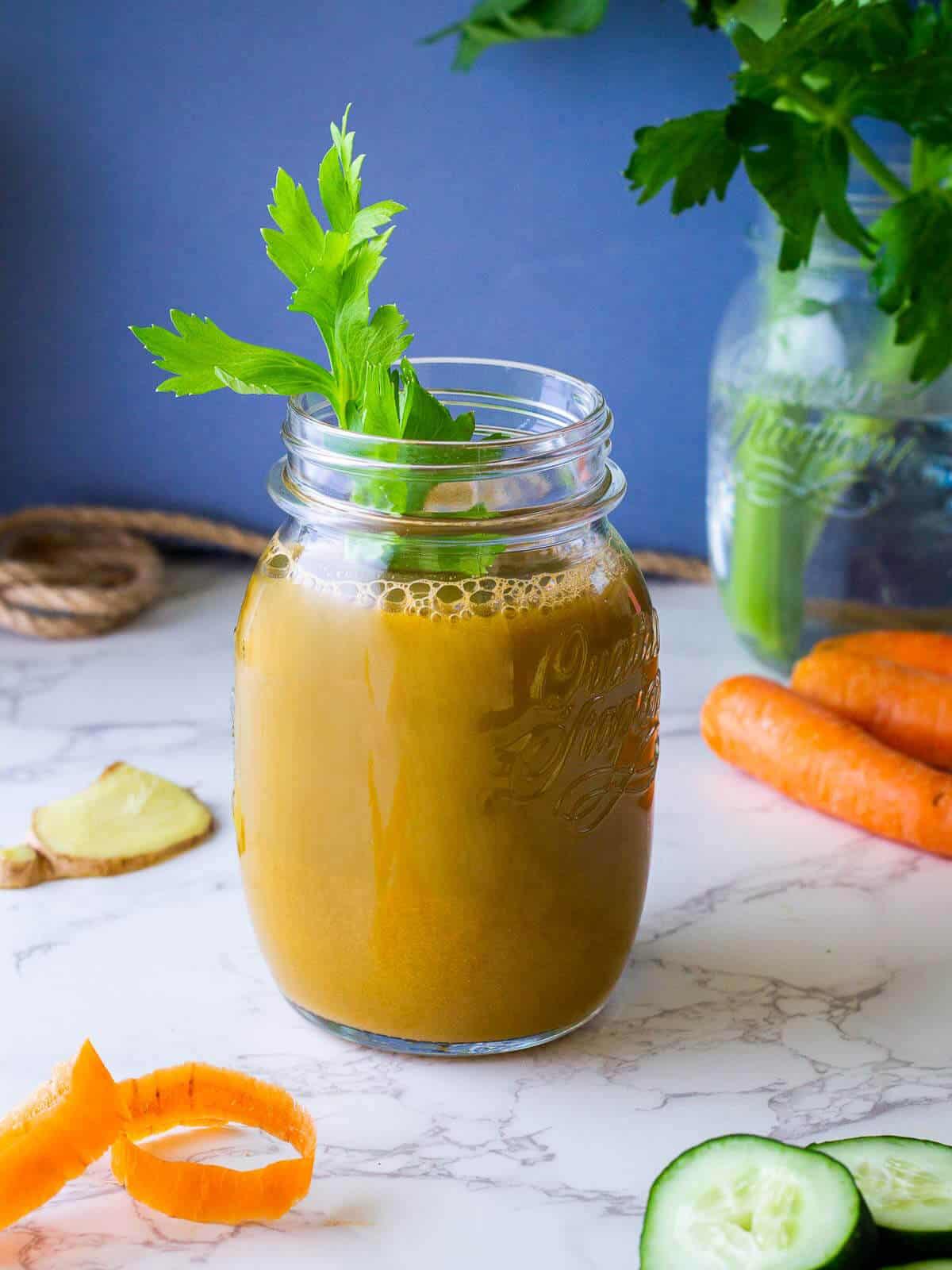 carrot celery cucumber juice glass