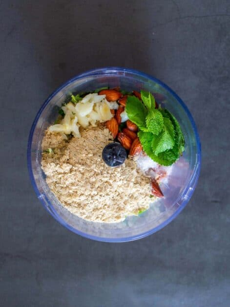 Mint pesto ingredients in Food Processor