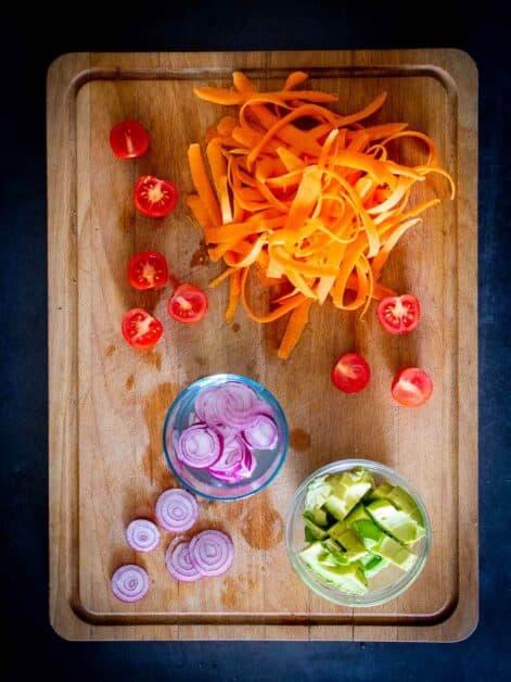 Vegan Poke Bowl chopped ingredients