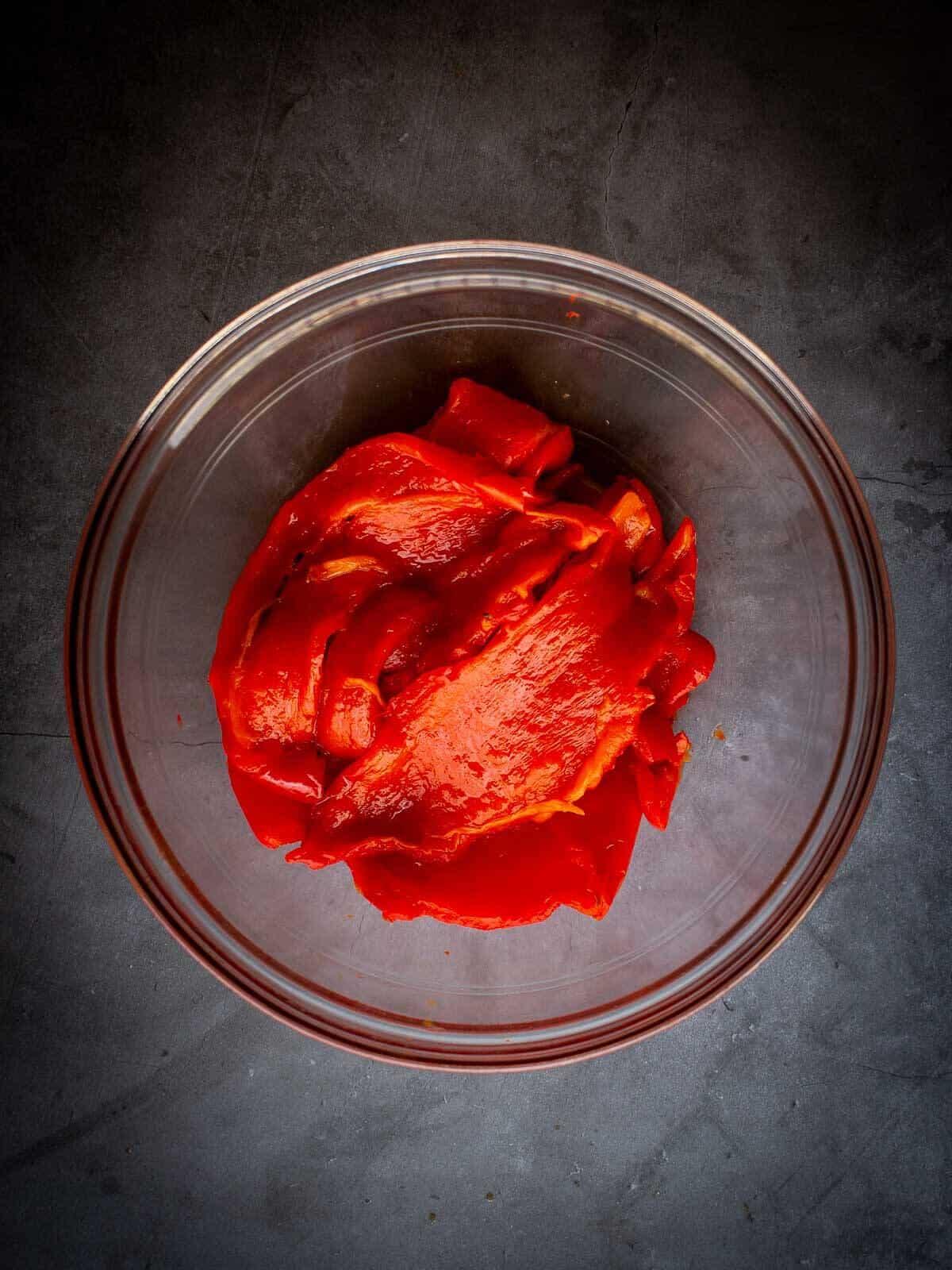 muhammara dip peeled red-bell peppers