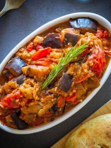 Italian Eggplant stew served