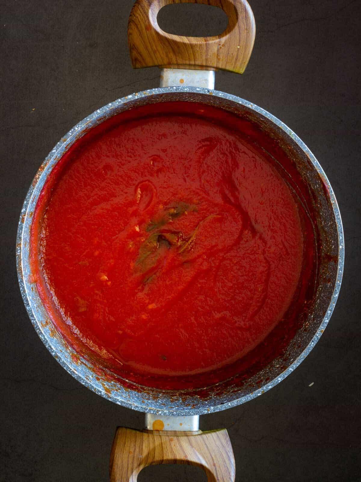 cooked sauce in saucepan