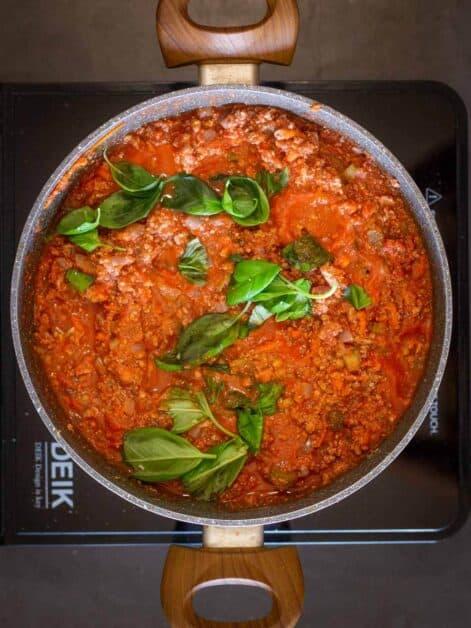 Vegetable bolognese add fresh basil