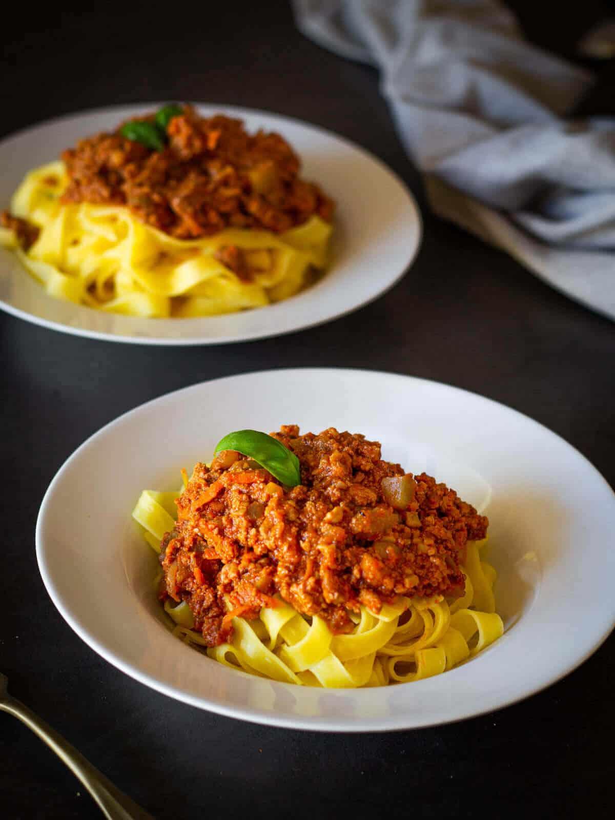 Vegetable Bolognese Spaghetti plated