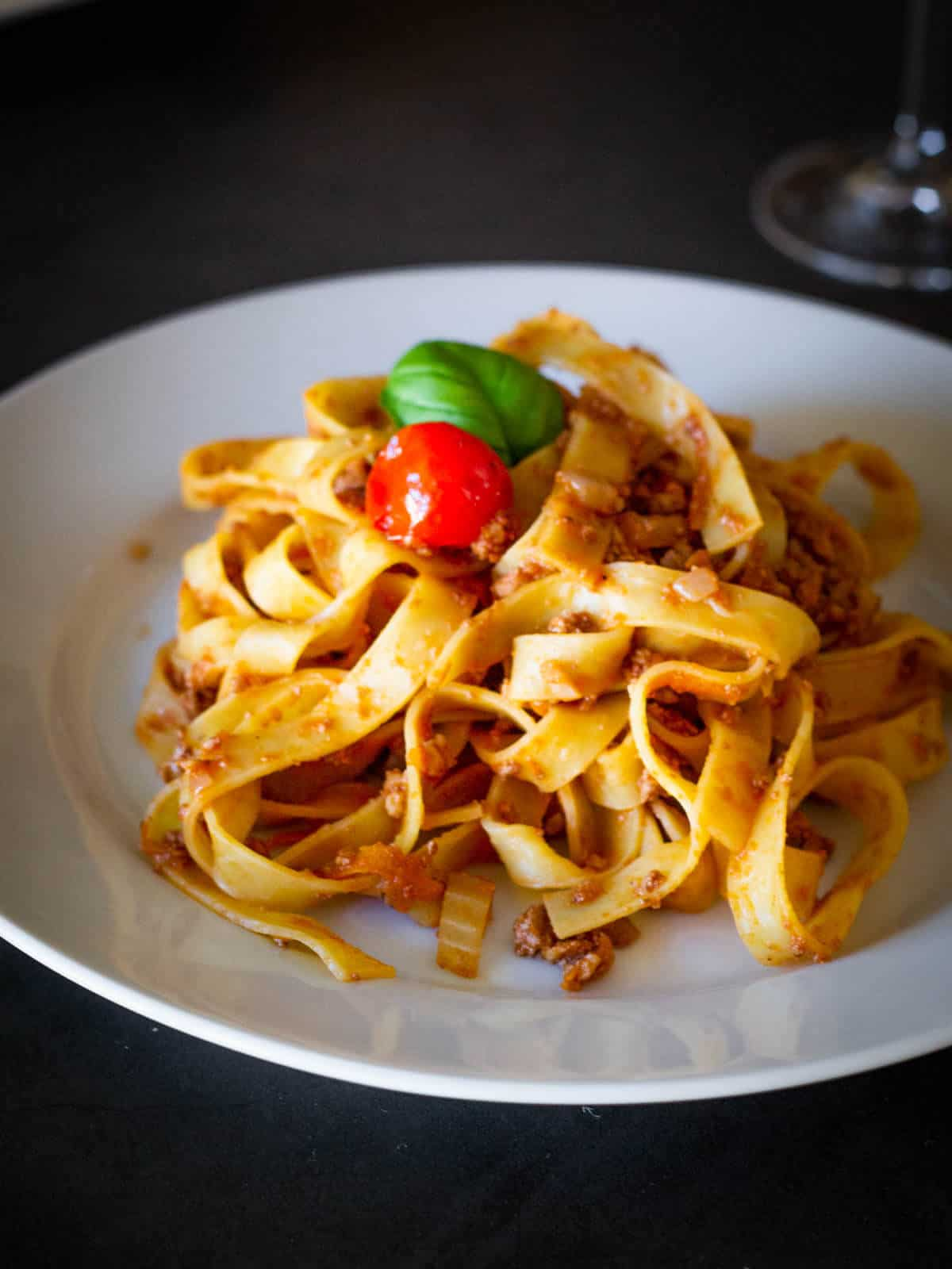 Vegetable Bolognese Spaghetti plated mixed