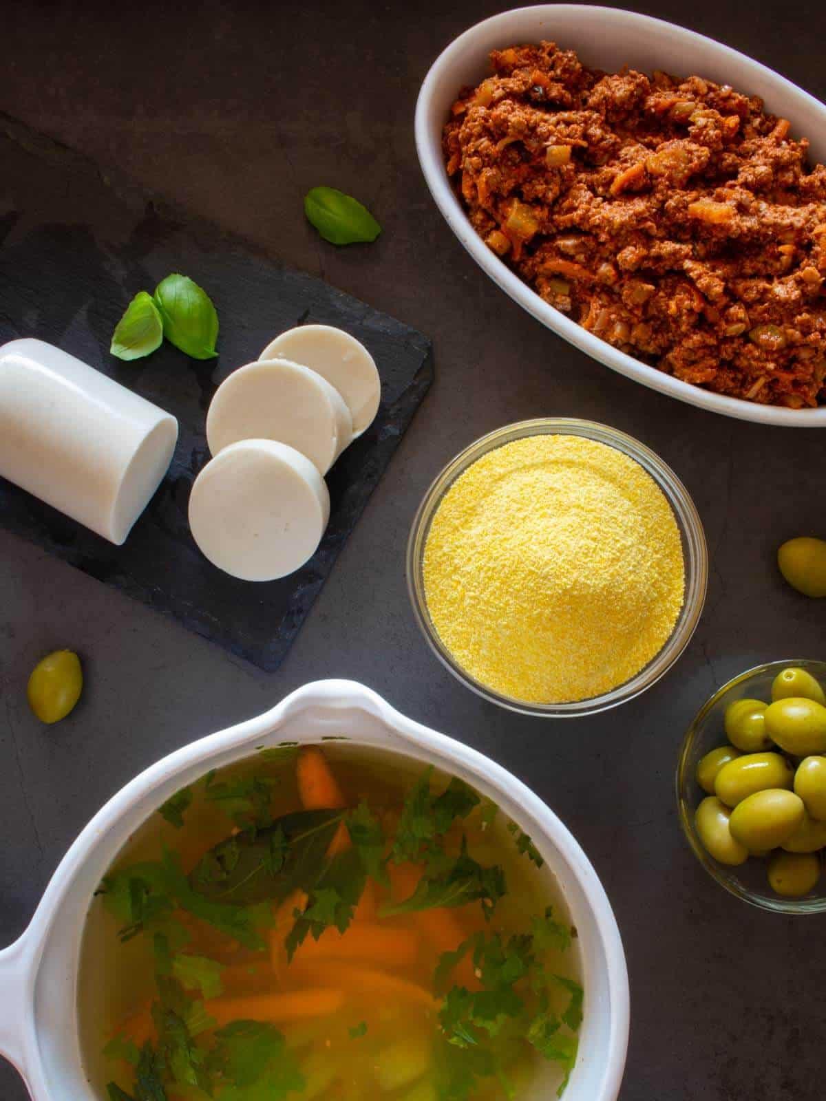 Vegan Baked Polenta Recipe with Tofu Ragout Ingredients