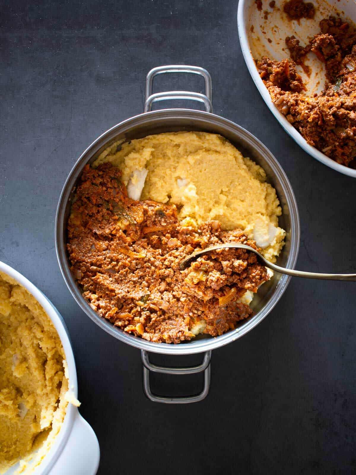 Vegan Baked Polenta Recipe with Vegetable Bolognese
