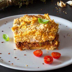 Vegan-Baked-Polenta-Recipe-with-Tofu-Ragout-portion-featured