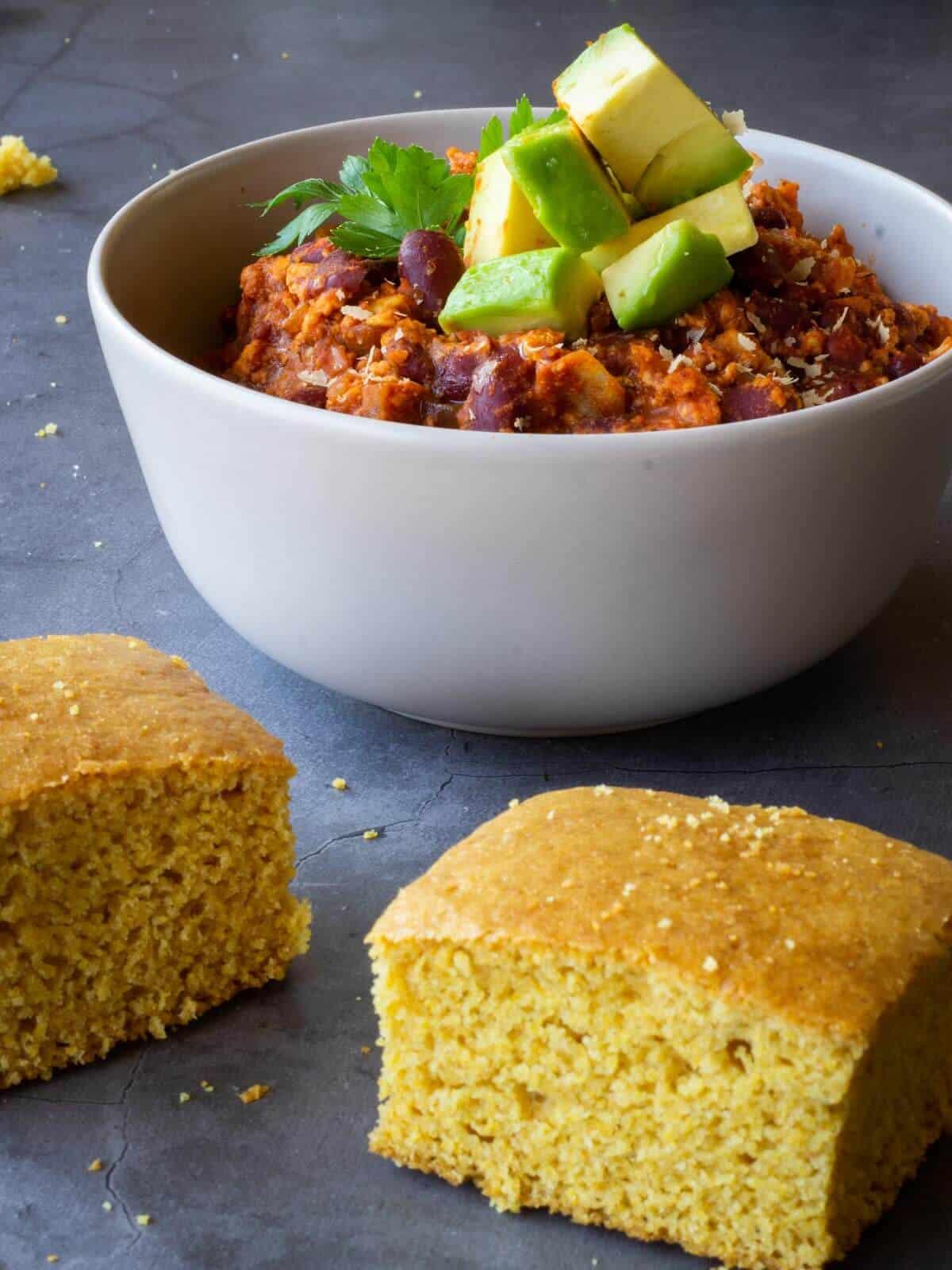 Vegan Buttermilk Gluten-Free Cornbread with Chili and avocado