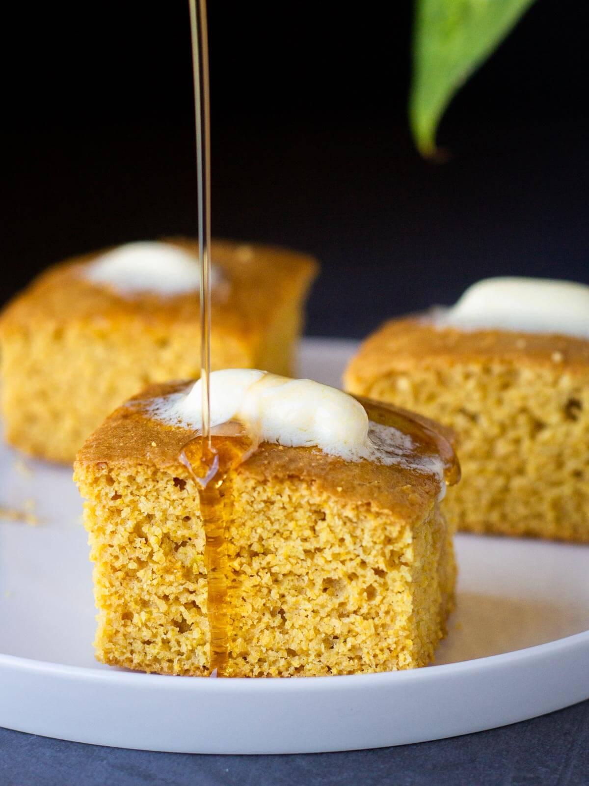 Vegan Buttermilk Gluten-Free Cornbread with maple syrup