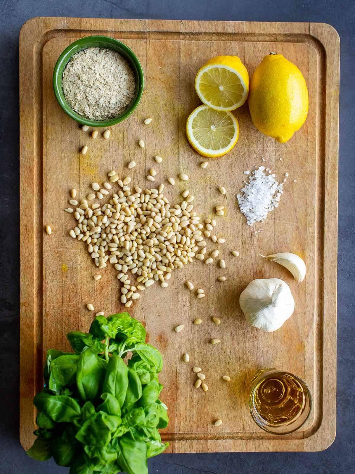 Homemade basil pesto Ingredients