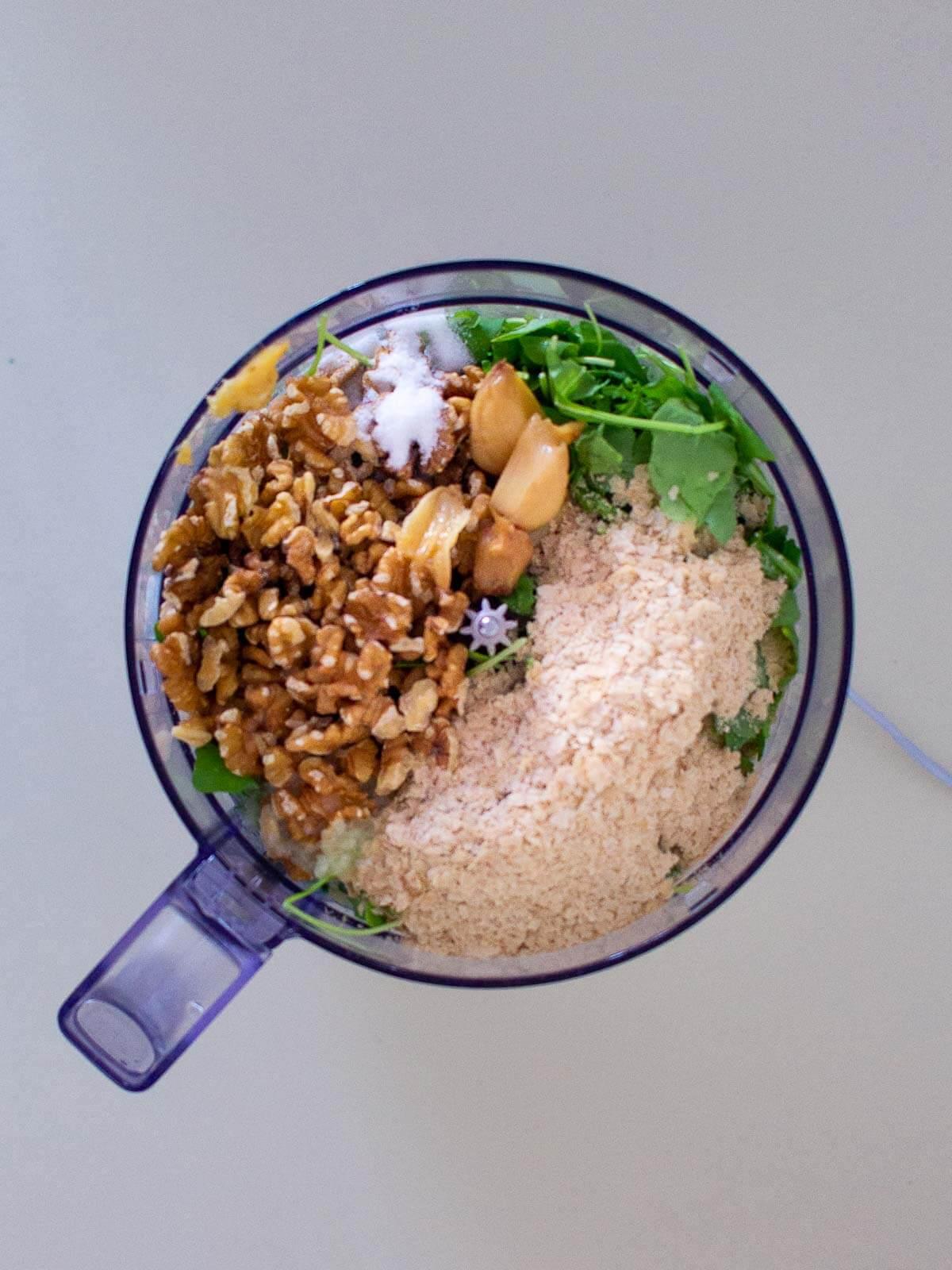 Vegan Arugula Pesto Ingredients in Blender