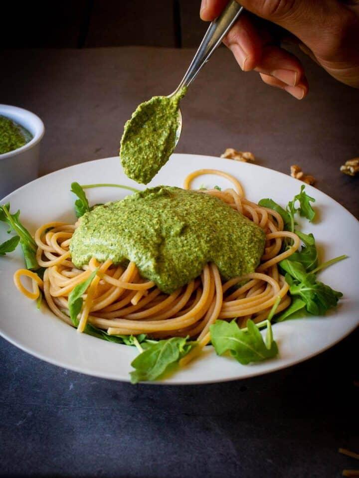 Serving Vegan Arugula Pesto