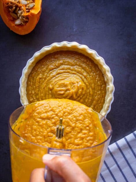 pour mix in pie crust