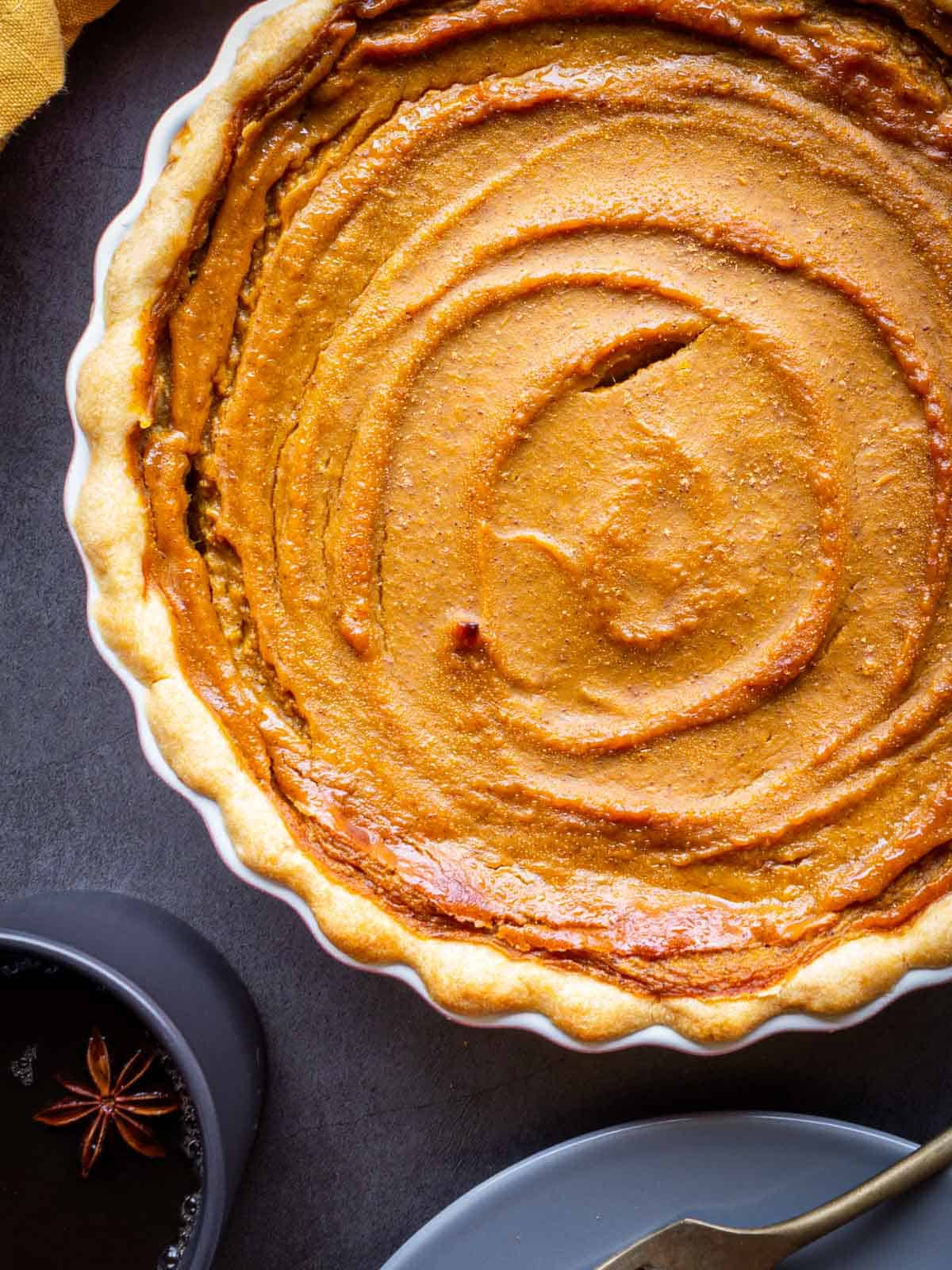 vegan no-roll pie crust pumpkin pie