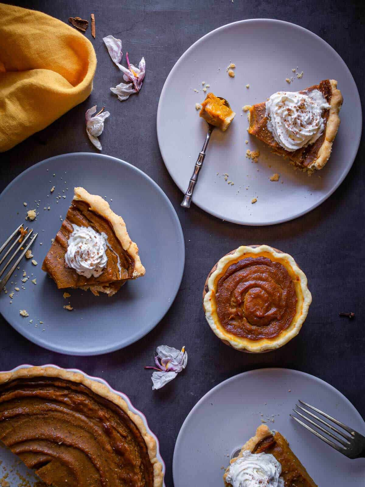 vegan pumpkin pie served in table