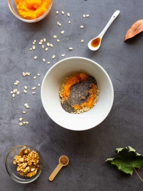 overnight pumpkin oats dairy free adding chia