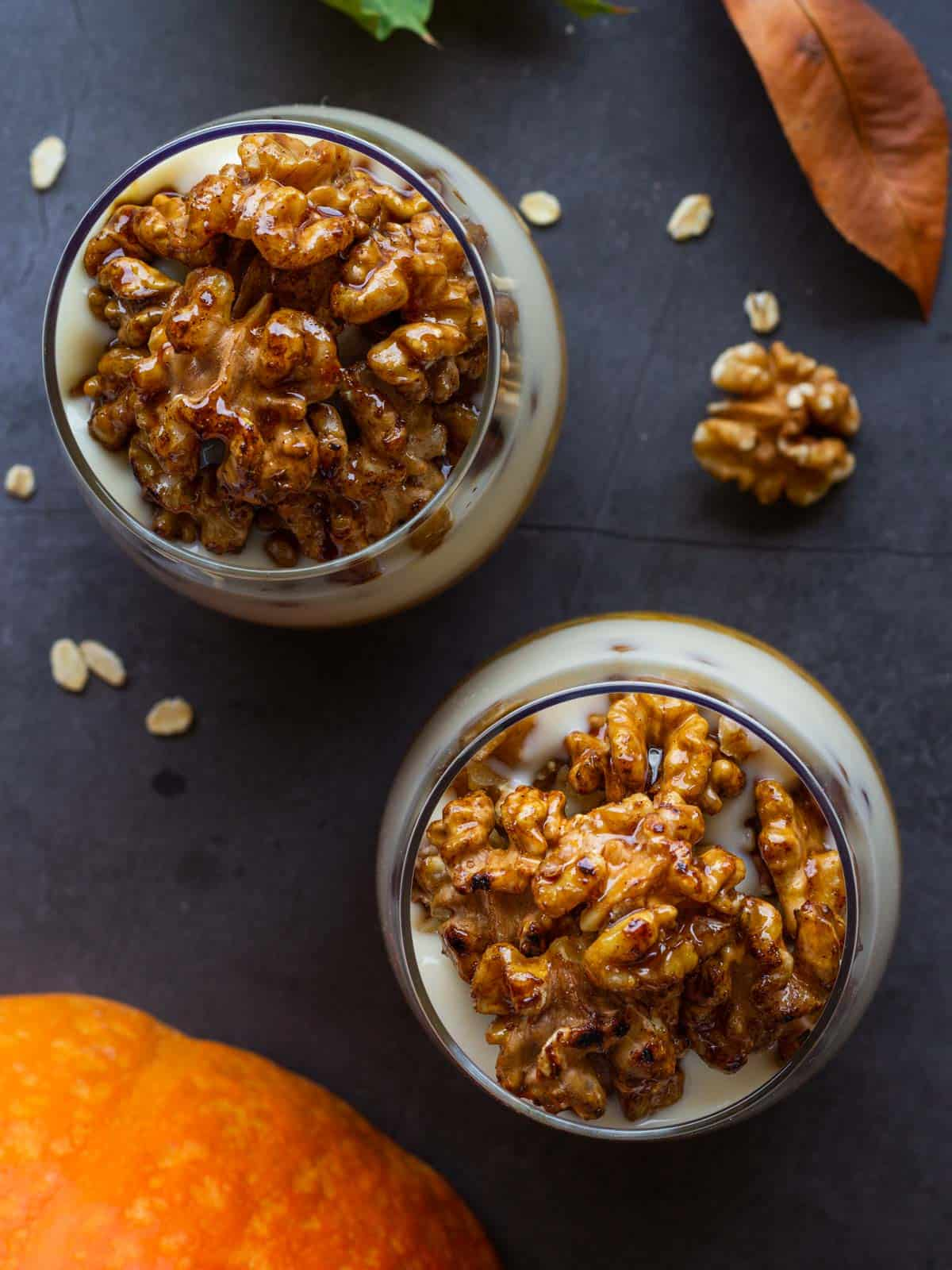 overnight pumpkin oats dairy free serve view from above
