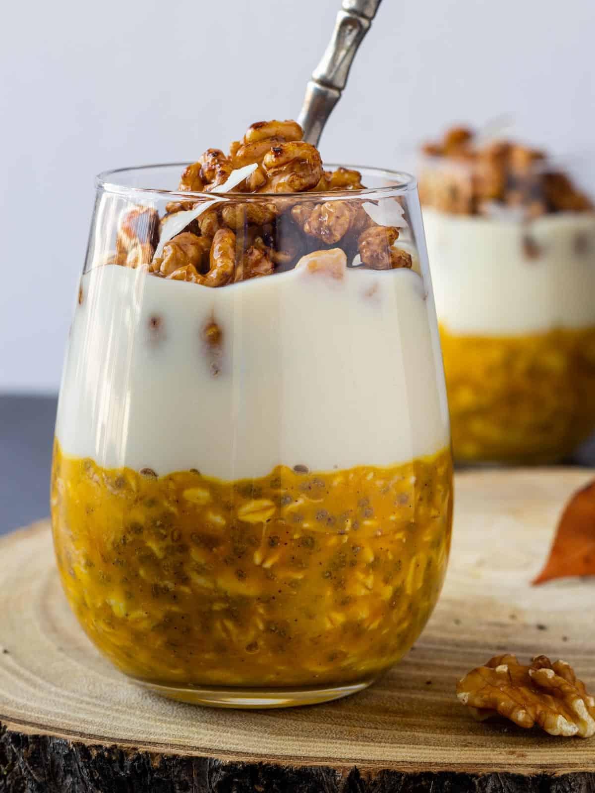 overnight pumpkin oats frontal view