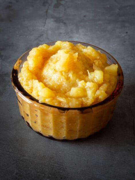 Unsweetened applesauce in mason jar