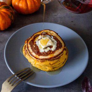 vegan pumpkin pancakes served