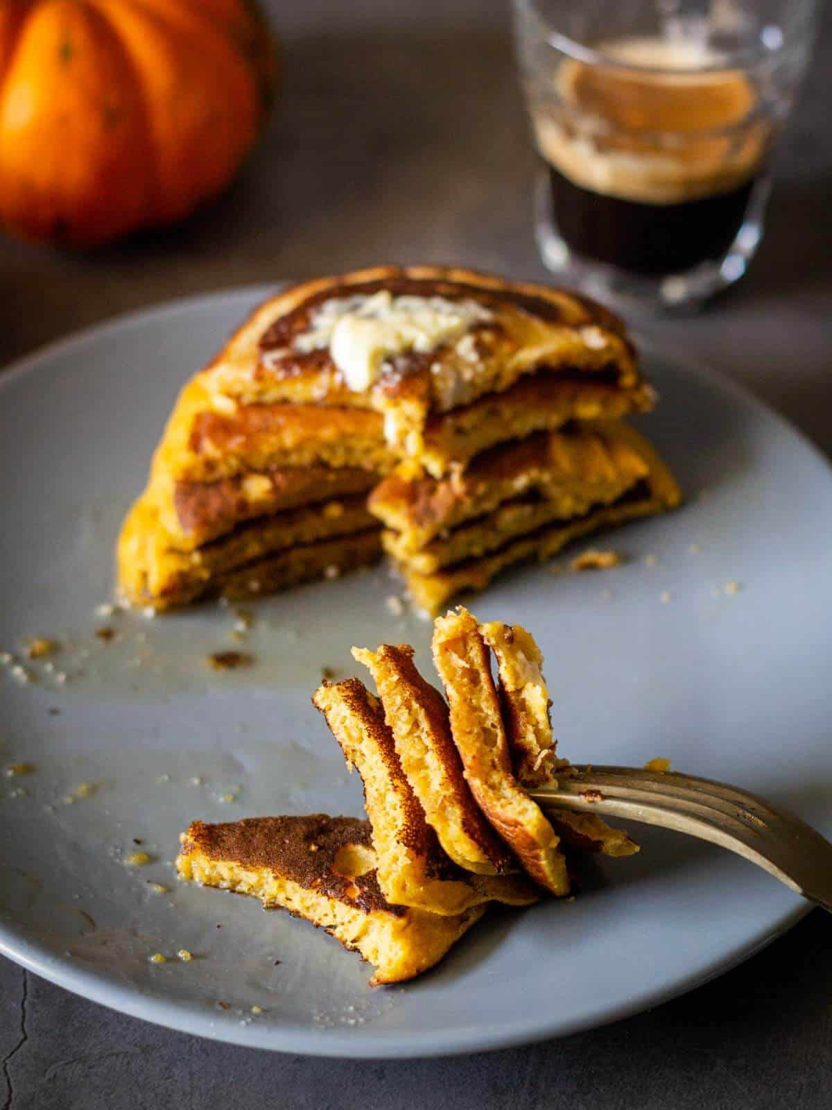 vegan pumpkin pancakes tower bite