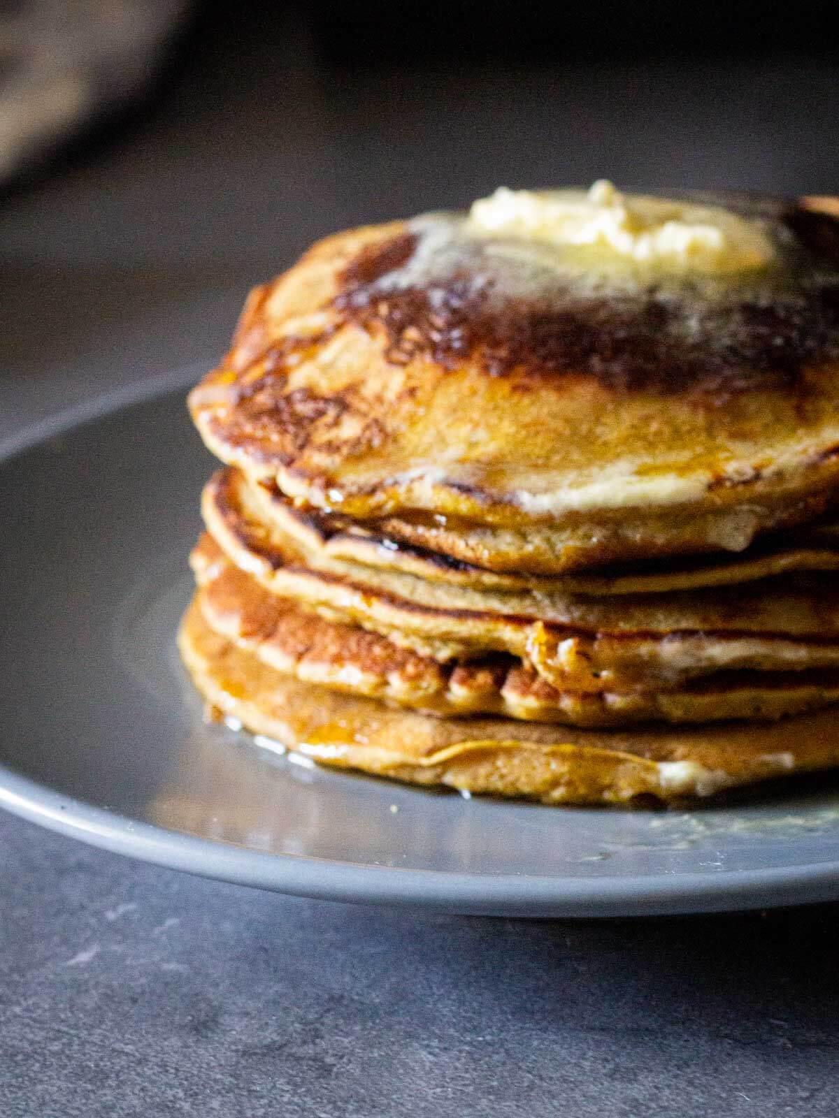 vegan pumpkin pancakes tower