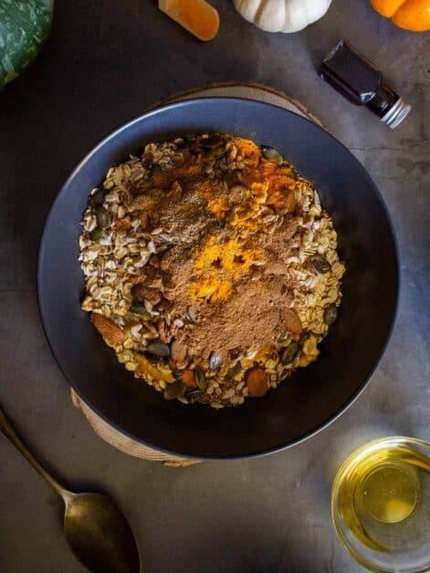 Maple Granola Recipe dry ingredients in bowl