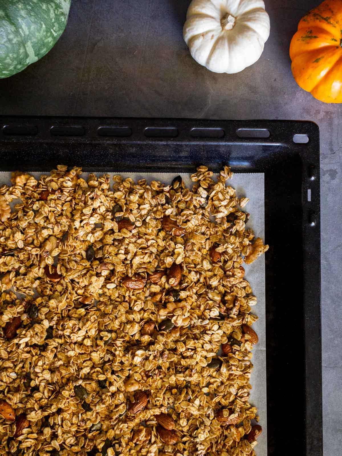 Pumpkin Maple Granola Recipe in baking tray