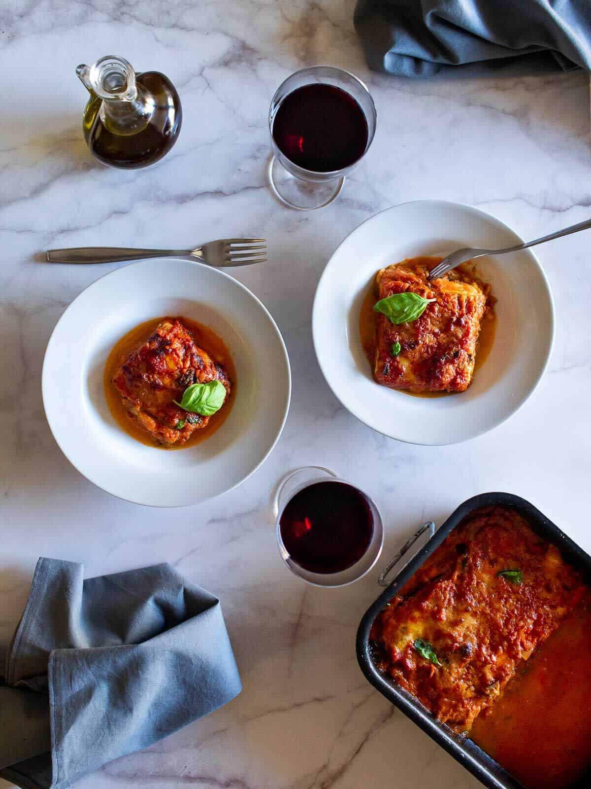eggplant parmesan with wine