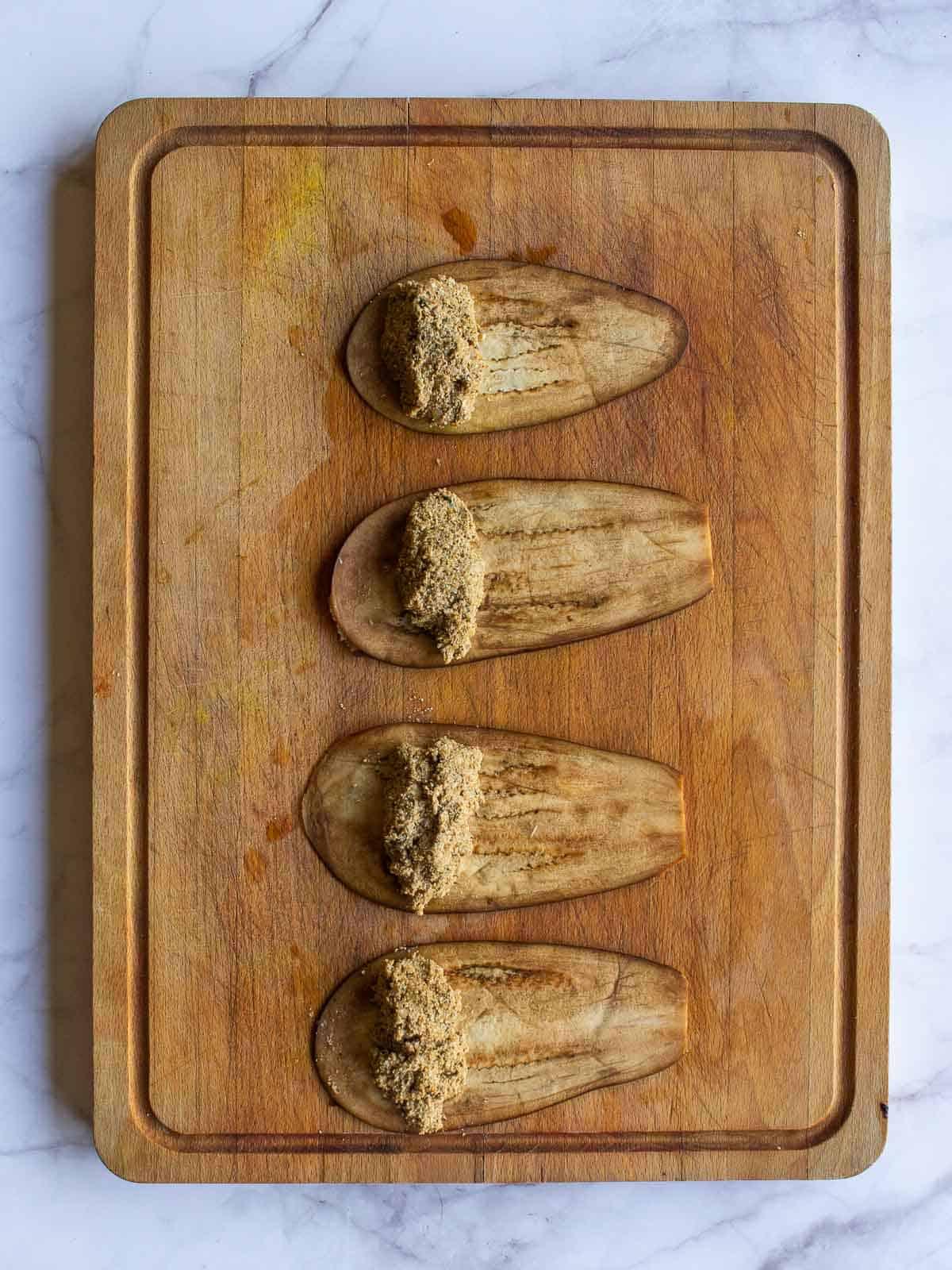 Stuffing Eggplants Involtini