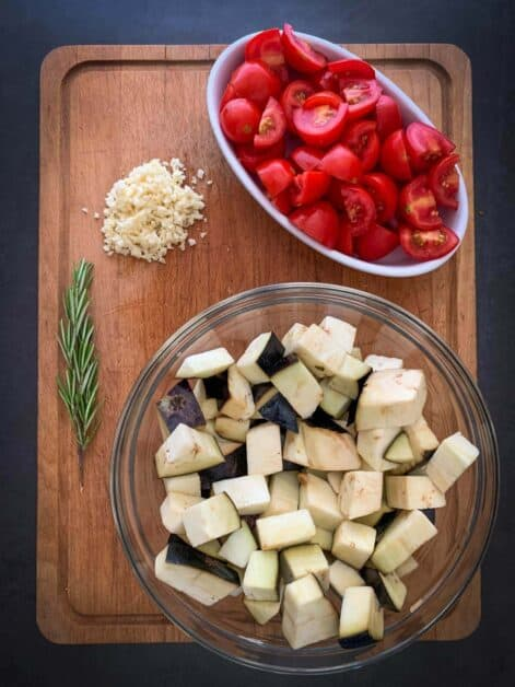 Italian Eggplant stew ingredients ready for cooking no oil no salt version