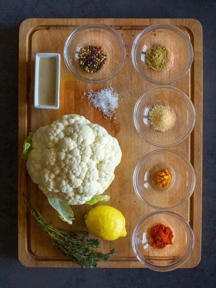 Spiced Roasted Cauliflower Ingredients