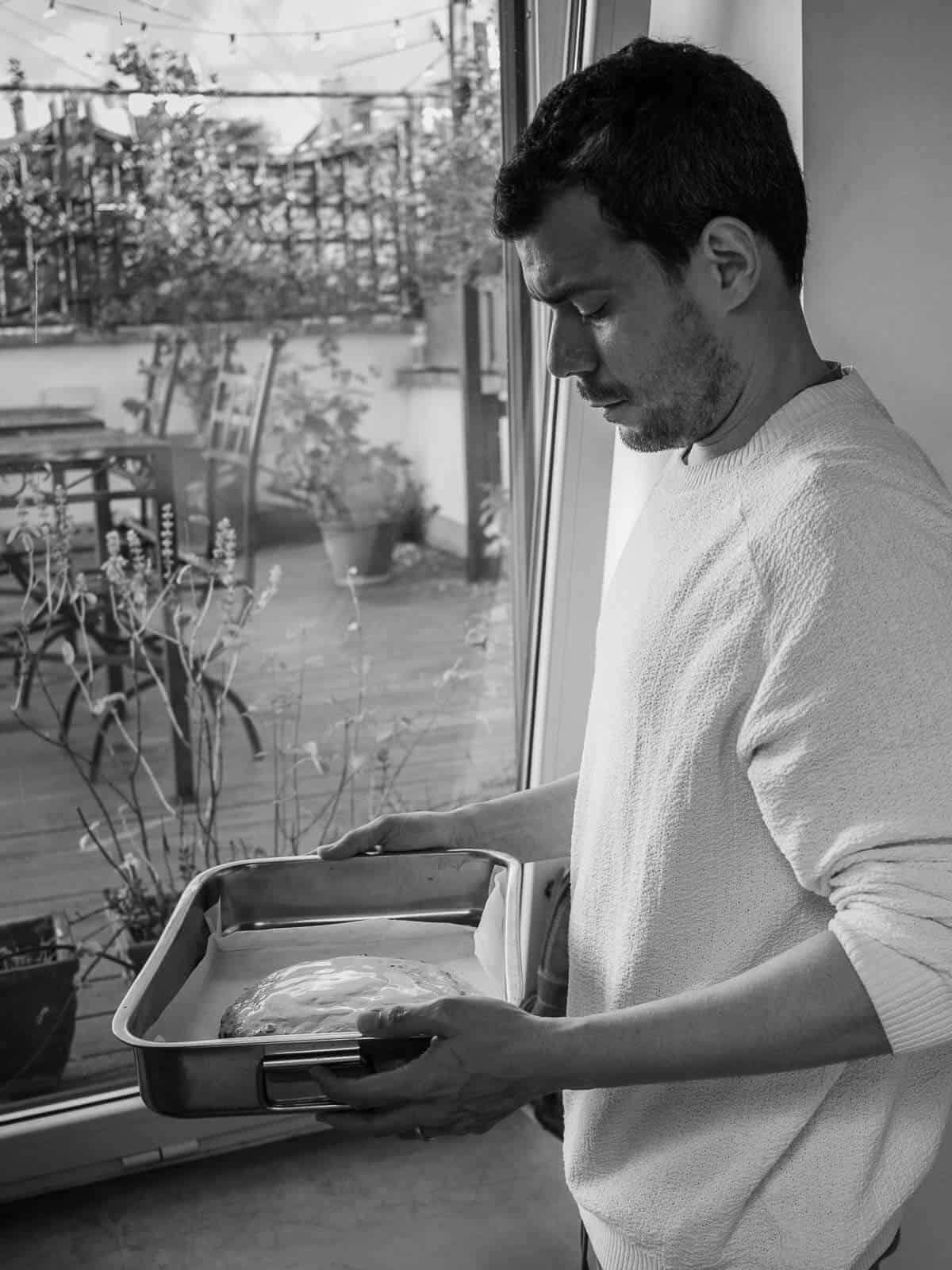 Gus taking pangiallo romano to the oven