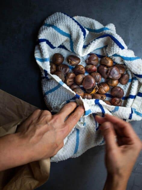 drying soaked chestnuts