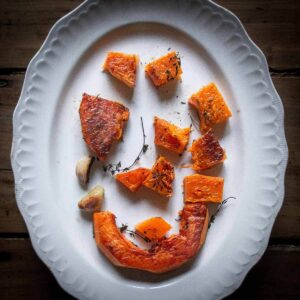 roasted butternut squash plated